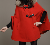 Fashion Casual Womens Coat Hooded Swing Shawl Jackets,Loose Fitting Warm Women Wool Cloak