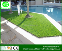 Direct buy china factory supplier straight and curve landscaping synthetic turf /fake lawn grass used for swimming pool .