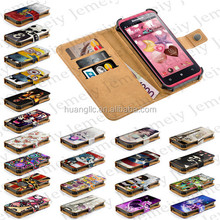 """Jemeiy Original Case For Lenovo S720 Stand Printing PU Leather Flip Wallet Cover 4.5"""" Universal Smartphone + Credit Card Slots"""
