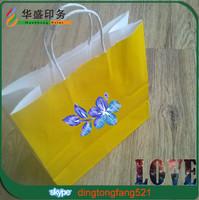 Custom made logo print luxury paper gift packaging bag white kraft bag