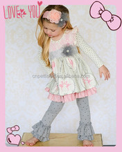 2015 Lovely Baby Girls CottonThanksgiving Outfit Girls Full Sleeve Top And Ruffle Pant Set Children's Fall Clothing Set
