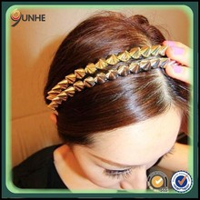 personality retro punk hair bands hair accessories fishing line wrapped rivet