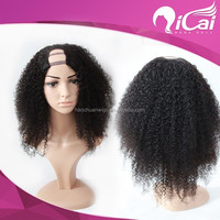 Indian Remy Hair U Part Wig,Afro Curly Hair Wig For Black Women