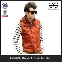 Latest Design Summer Hooded Mens Western Vests, Wholesale Cheap Cotton Vest