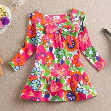 2015 New style fashion dress for sweet Girls L335 Red color with flower