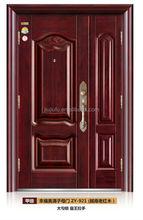 Exterior steel double doors mother son doors for residence/security double door(JJDL-921)