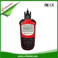 V-checker V303 handheld OBD diagnostic tool on automobile