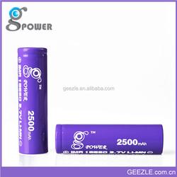 2015 New Coming Gpower 18650 2500mah Li-Mn High Drain Battery for Vmax, Mini Provari
