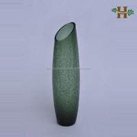 Cylinder Slanted Crackle Glass Vase Tall Glass Vase