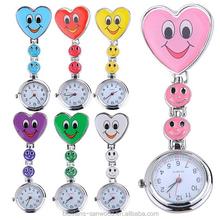 Kids Cute Smiling Faces Heart Clip-On Pendant Nurse Fob Brooch Pocket Watch