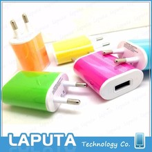 High Quality OEM Colorful US Plug 5V 1A Mobile USB Wall Travel Charger for iphone 6/Samsung/Android phone