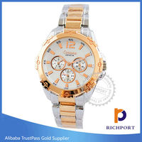 Silvertoned Band Quartz Geneva Stainless Steel Watches for Woman