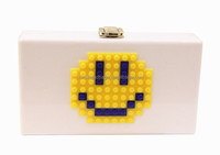 New smile face bead acrylic clutch bags women fashion clutch bag with factory produce