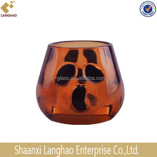 Pumpkin Shape Amber Glass Candle Holder