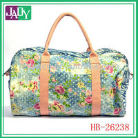 New fashion customed printed flower nylon duffel bag