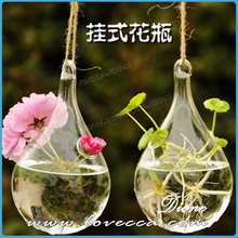 wholesale fluted glass hanging flower vases, air plant glass terrarium different types for wedding fairy decoration