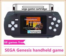 16bit SEGA Genesis pocket handheld game player include 68 in 1 games,cartridge solt,AV out,Colourfull,rechargable