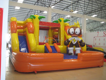inflatable slide for sale,cartoon characters Electro Boy inflatable slide combo bouncer