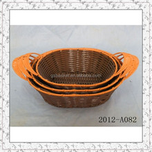 cheap woven plastic rattan food basket with handle wholesale