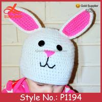 P1194 new design winter crochet animal rabbit children hats for girls