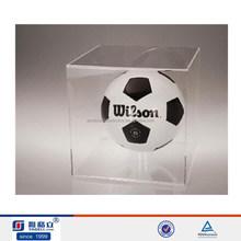 2015 transparent acrylic soccer ball box for soccer ball display stand ,soccer ball display