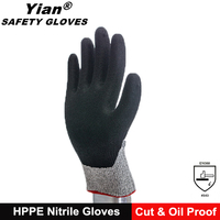 Anit Cut HPPE Nitrile coated cheap docker work gloves