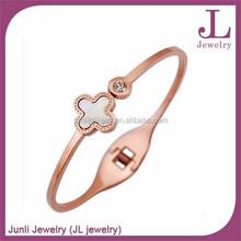 Clover Rose Gold Plated Bracelet Jewelry 316L Stainless Steel Bracelet
