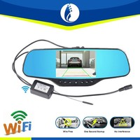 Wire free installation rearview mirror, 5inch WiFI rearview camera mirror with car dvr