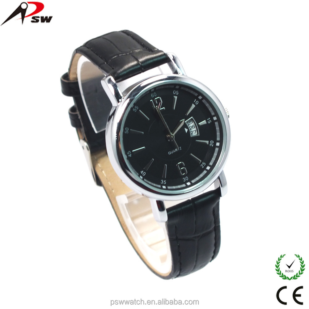Man watch 2015 black genuine leather watch with calendar