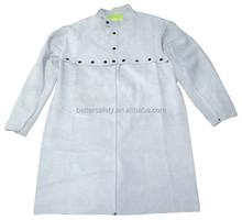 Gray Split Cowhide Leather Welding Cape Sleeves With Detachable Split Cowhide Leather Apron