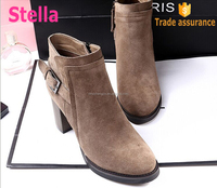 Hot sell fashion lady PVC rubber sole zipper suede high heel ankle boot