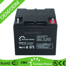 Factory direct sale sufficient capacity 38ah dry battery 12v for ups