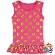 Wholesale Cotton Kids T shirt Hot Red Gold Polka Dot Tops And Blouses 2015 Summer Ruffle Shirts Toddler