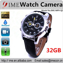 High quality full hd 1080P internal 32gb watch camera,watch with black leather band, IR night vision camera
