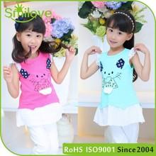 China fashion skin friendly little cat kids wear-clothing dress tshirt children clothes online high low girl dresses