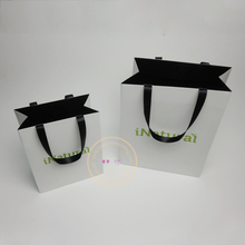oem production paper shopping bag with ribbon handle