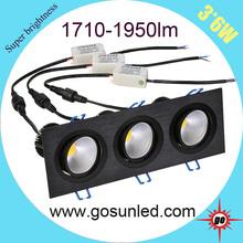 3*6W rectangle, cob 20w led downlight