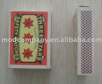 three star brand housewhold wooden safety matches