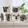 european vintage aniaml pattern elephant rhinoceros koala high quality linen cotton cushion covers,outdoor cushions