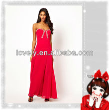 división de alta baratos rojo vestido de noche