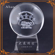 factory custom made logo engraved round crystal ball with base