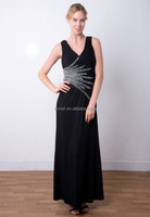 EL-8396A New 2015 V-neck Beaded Royal Jersey Evening Dress