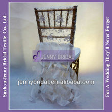 C126B1 new fancy ivory lace organza ruffled wedding chair covers