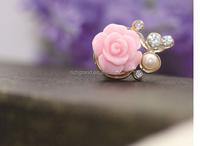 wholesale Romantic Pearl Roses dust plug 3.5mm Xian resin flower mobile phone dustproof plug