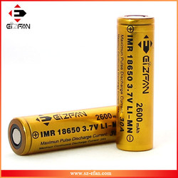 Hot sale EFAN 18650 2600mAh battery cell 3.7v flat top LiMn 18650 30A rechargeable battery