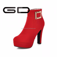 artificial short plush Rubber out sole women high heel boots