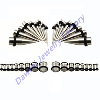 DAR-HS Wholesale Checkout 36pc Stainless Steel Ear Gauge Kit, Stretcher Taper & Single Flared Tunnel Earring Jewelry 14g-00g