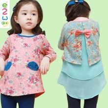 Girls South Korean Full Print 2 Pockets Factory Outlet Fancy Girls' Dresses