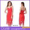 New Design Strappy Dress Back Cut Out Lace Trim Lady Fashion Dress