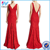 New Fashion Sexy Red Lace Patchwork Women Deep V Neck Long Party Red Evening Dress Gown